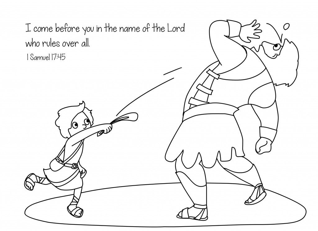 David and Goliath Bible Coloring Page Free Download | Bible ...