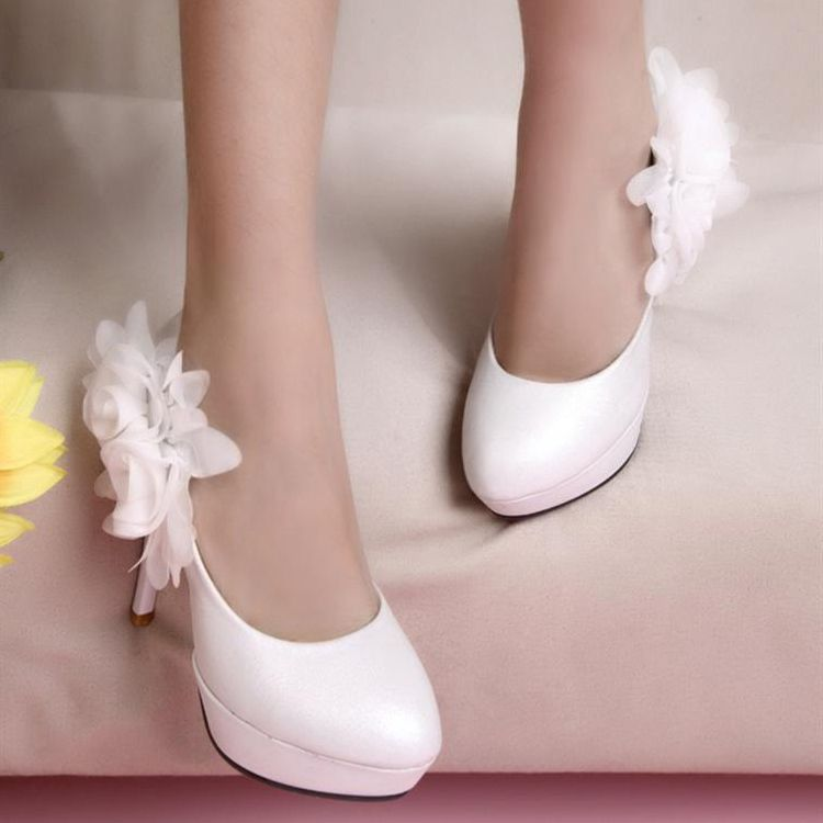 2012 autumn sweet flower platform thin heels high heeled shoes wedding shoes party shoes-in Pumps from Shoes on Aliexpress.com