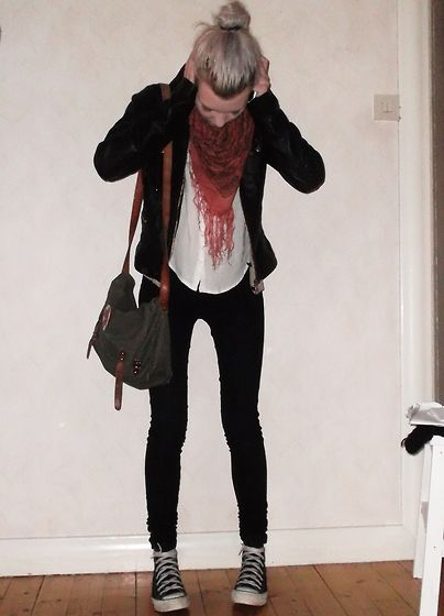 5d40a08ea5c2a3 leather jacket or black cardigan. white blouse. bold fringe scarf. black  skinny jeans or black leggings. converse. fall or winter