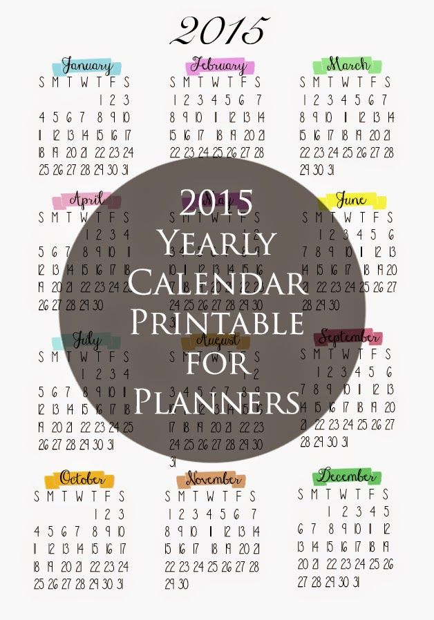 2015 Year At A Glance Printable jOURNALS Pinterest Planners