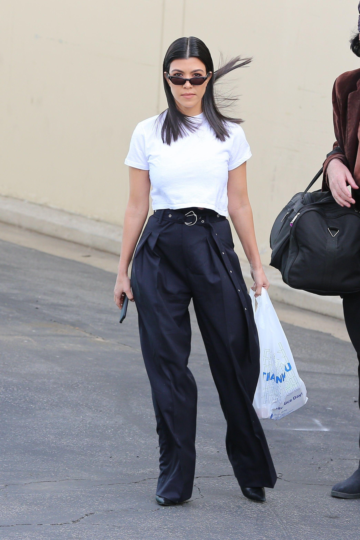 69b0746aa29e13 Kourtney Kardashian wearing Balenciaga Patent-Leather Ankle Boots