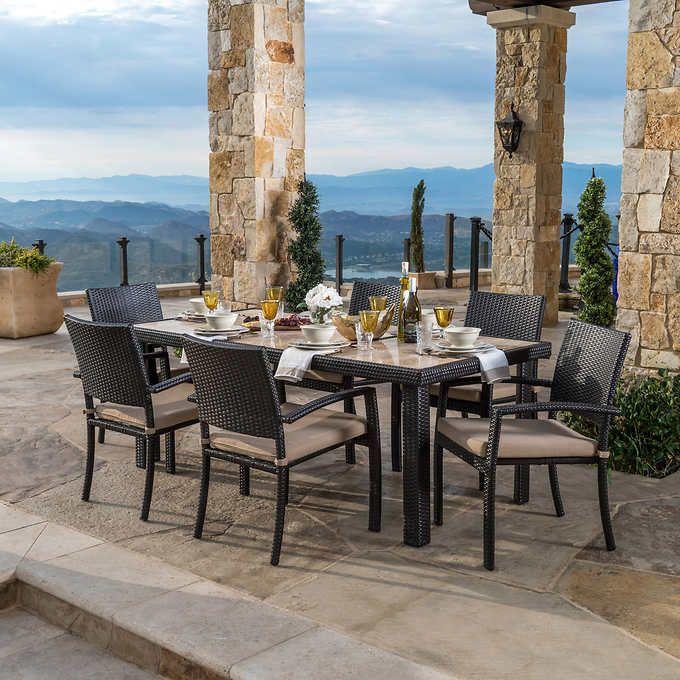 portofino 7 piece dining set in espresso furniture in 2019 rh pinterest com