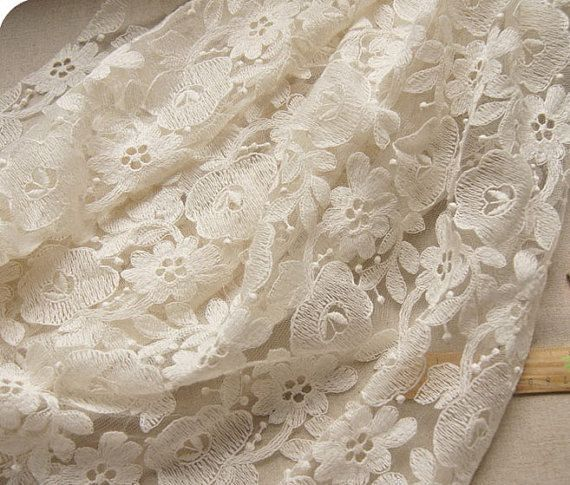 Ivory Embroidered Lace Fabric by the Yard on sale door LaceFun ...