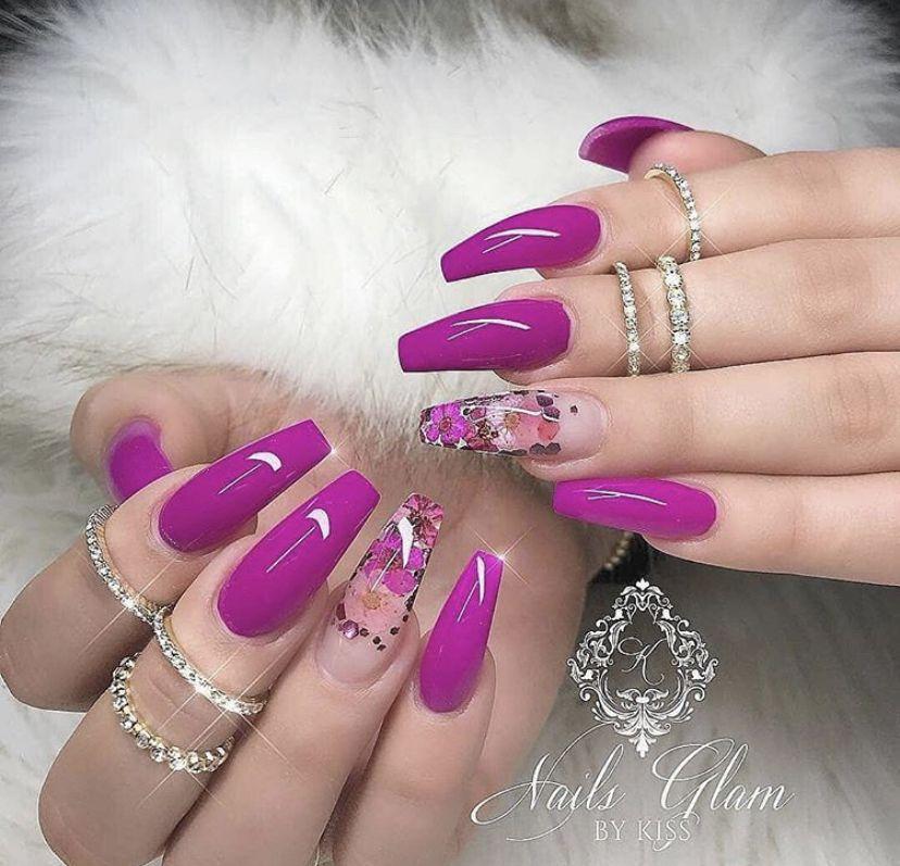 Purple Floral Nails Magenta Nails Nail Designs Summer Summer Nails Colors