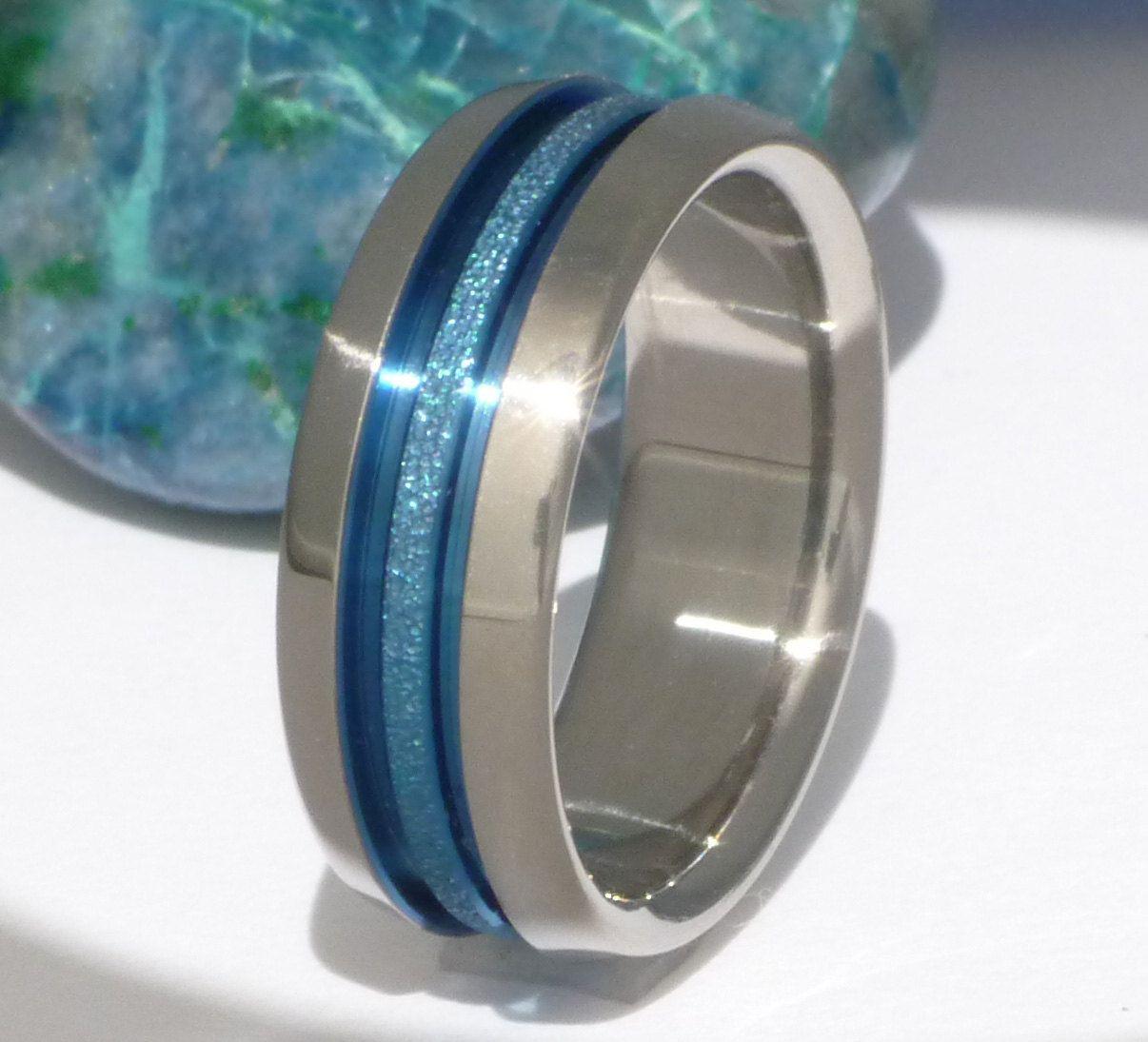 Blue Titanium Wedding Band