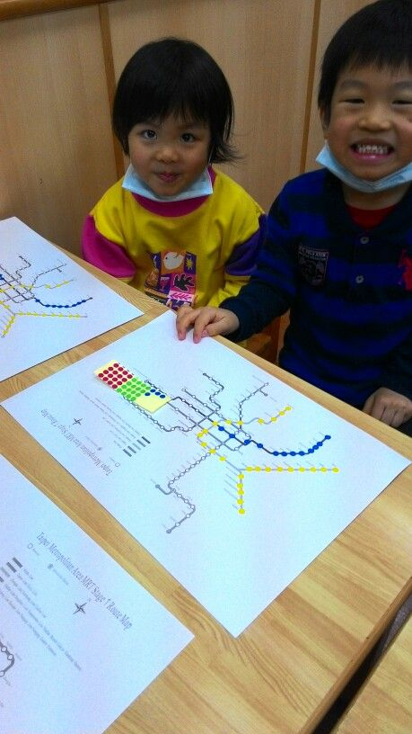 Take your mrt map and get the kids to map it out by line colour