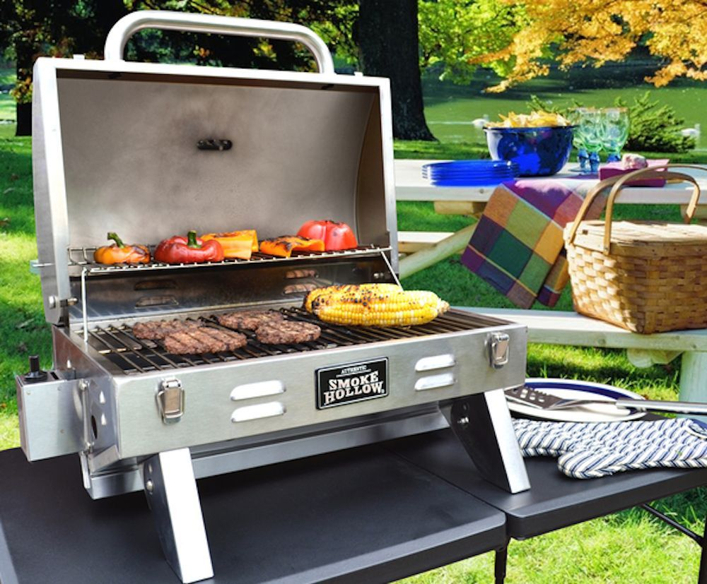 smoke hollow 205 stainless steel tabletop bbq gas grill great for rh pinterest com