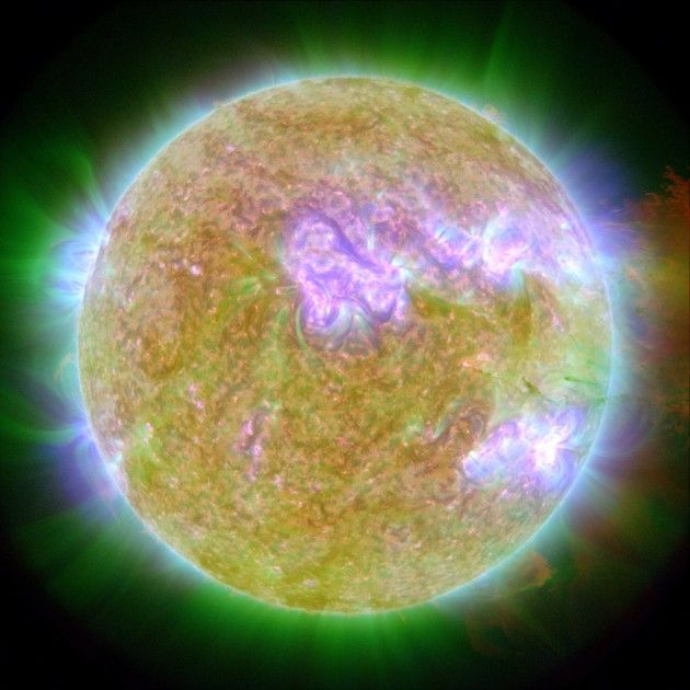 """""""This photograph shows our Sun on June 7, 2011, at the time of an eruption. The source of the eruption glows brightly at lower right. Material blasted outward only to fall back onto the Sun's surface."""" Credit: NASA / SDO / P. Testa (CfA)"""