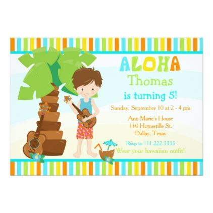 Aloha cute brunette hair boy birthday party card birthday cards aloha cute brunette hair boy birthday party card birthday cards invitations party diy personalize customize stopboris Choice Image