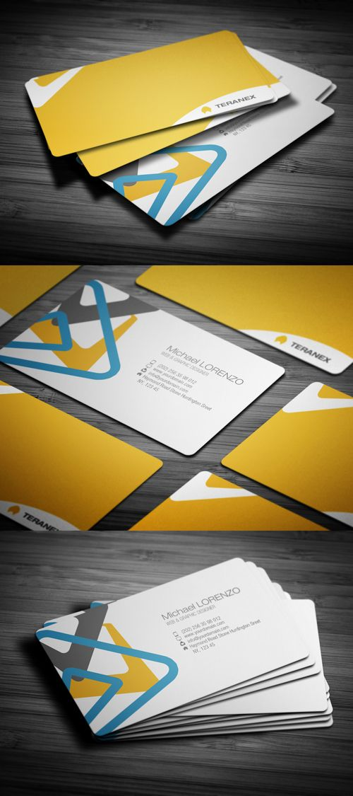 the colors of this business card work well together, so does the ...