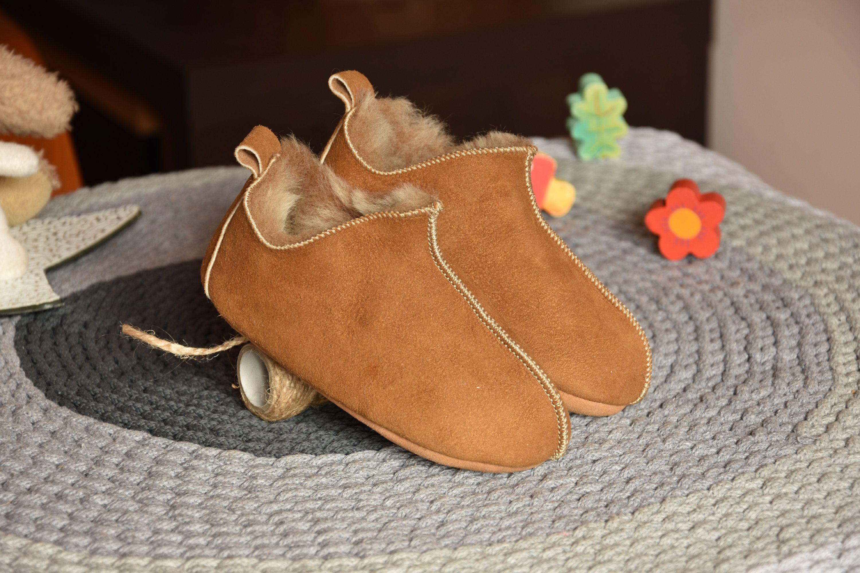 Leather Slippers For Children Sheepskin Childrens