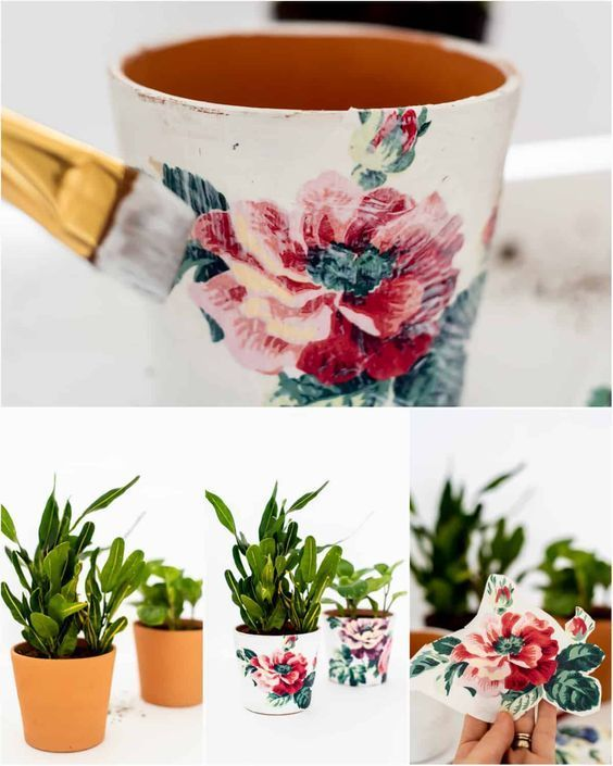 Photo of HOW TO DECOUPAGE WITH NAPKINS – DECOUPAGE PLANTER – PLACE OF MY TASTE,  #Decoupage #Napkins #…