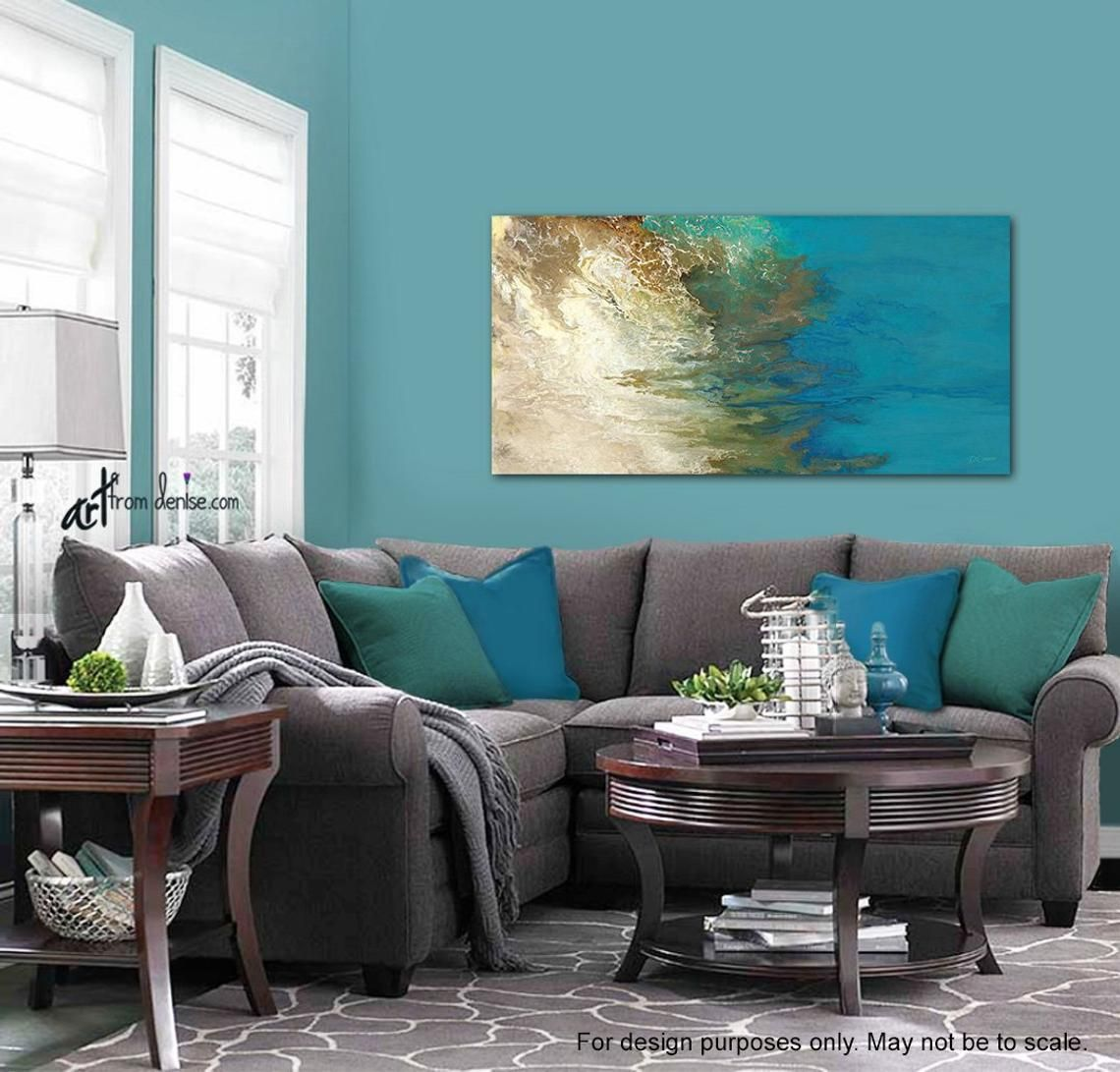 Teal Wall Art Abstract Horizontal Canvas Turquoise Blue Olive