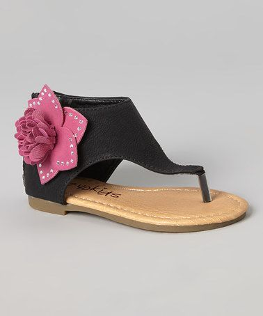 Another great find on #zulily! Black & Fuchsia Flower Karylle Sandal #zulilyfinds