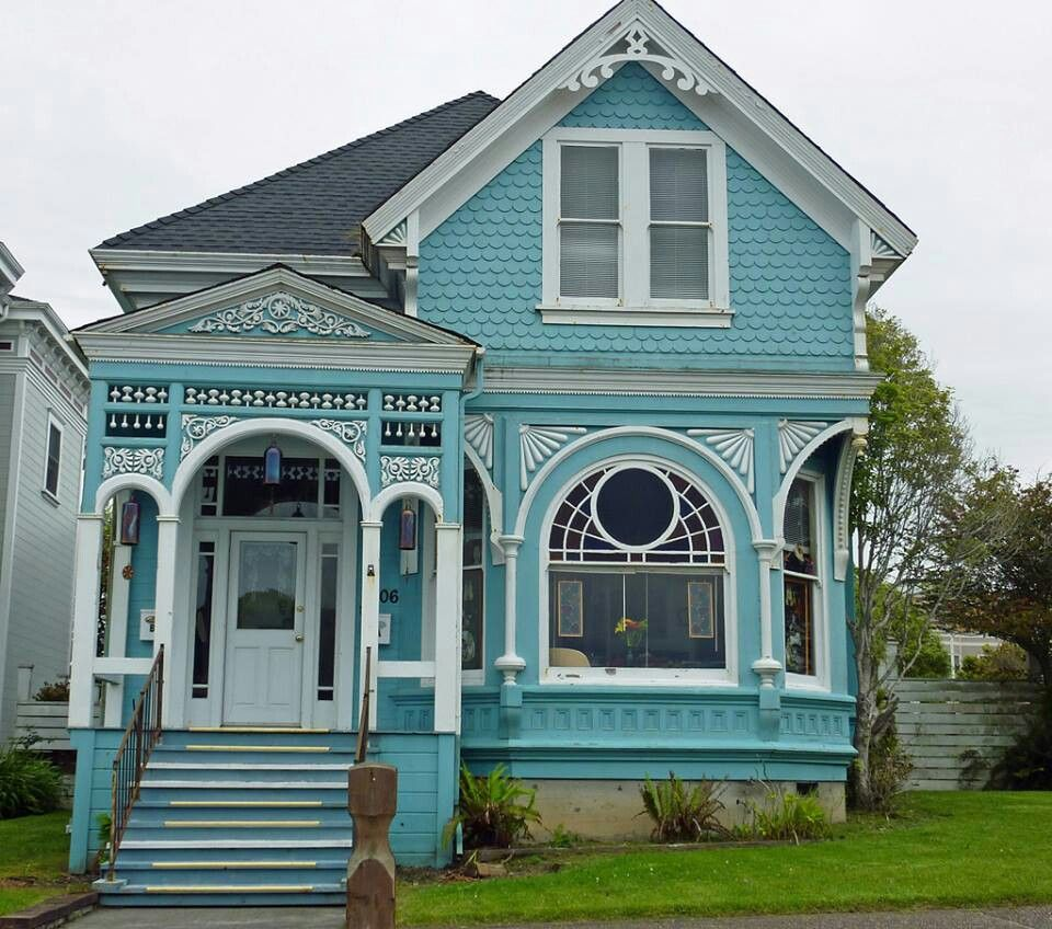 Blue victorian house cottage architecture pinterest for Victorian home builders