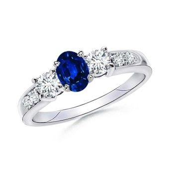 Three Stone Oval Blue Sapphire and Round Diamond Ring