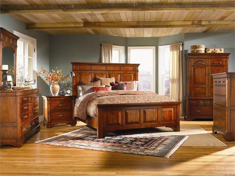 A America Kalispell Mantel Bed Bedroom Set Rustic