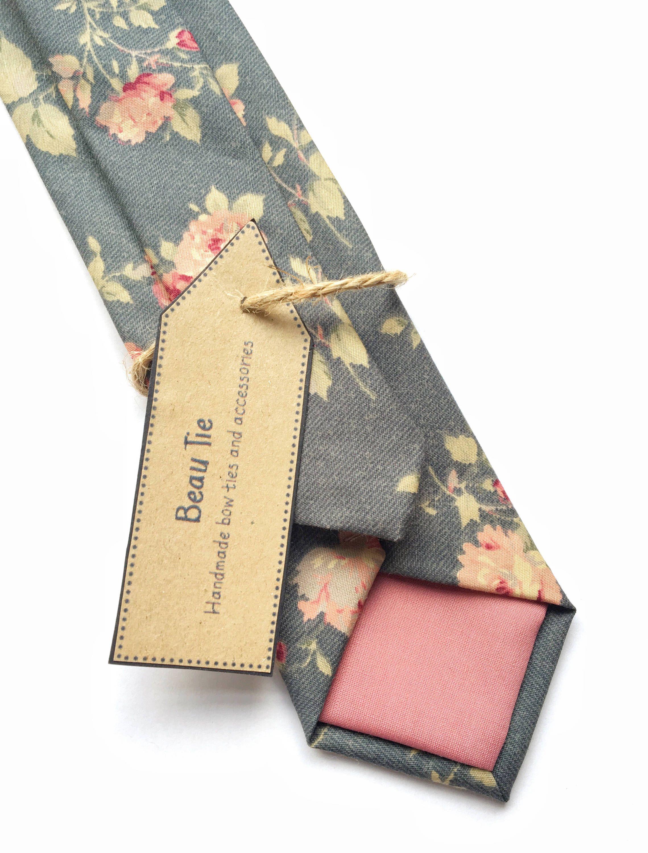 438c4f926ce8 Mens floral tie, rose print tie, mens grey tie skinny tie, mens ...