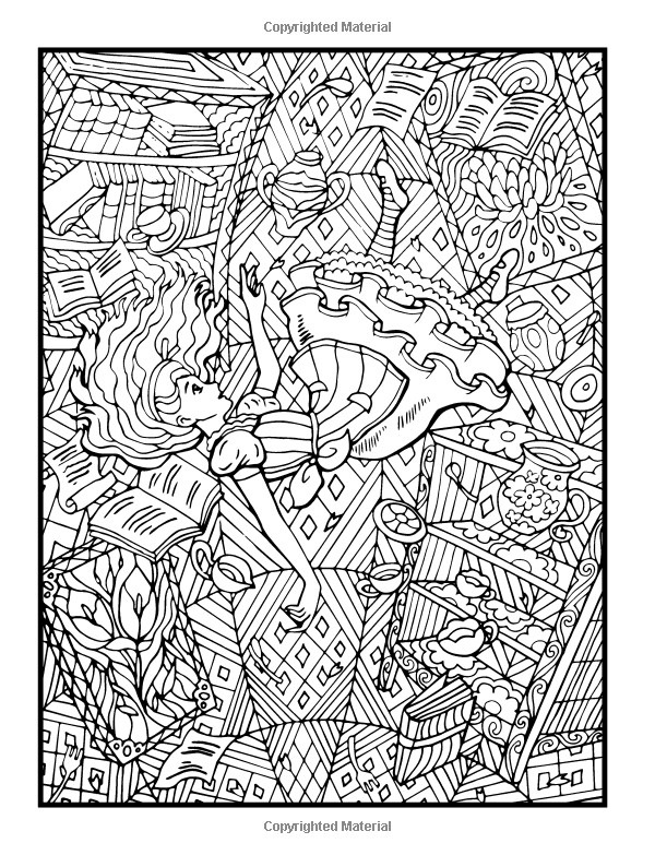 Amazon Com Alice S Adventures In Wonderland An Adult Coloring Book With Fantasy Themes And Mythical Summer Coloring Pages Coloring Books Cute Coloring Pages