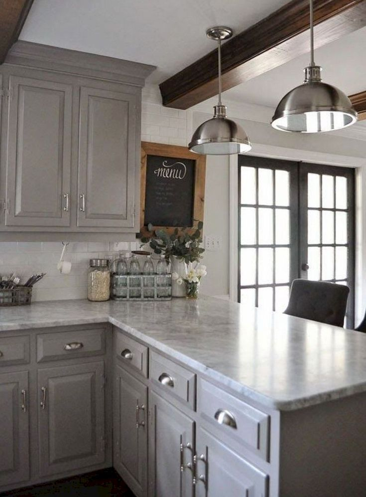 grey cabinets marble counters and wood beams pretty grey rh pinterest co kr