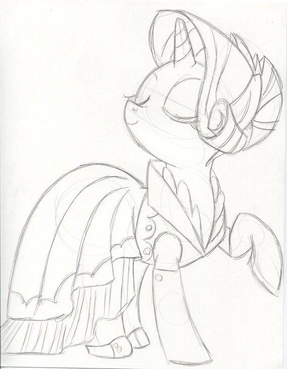 Pretty Party Pony Rarity Pony Copic Sketch Ink Sketch
