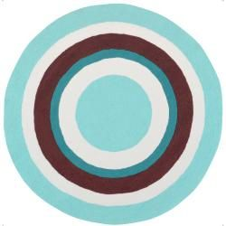 Hand-hooked Blue Rizzo Polyester Rug (4' Round)