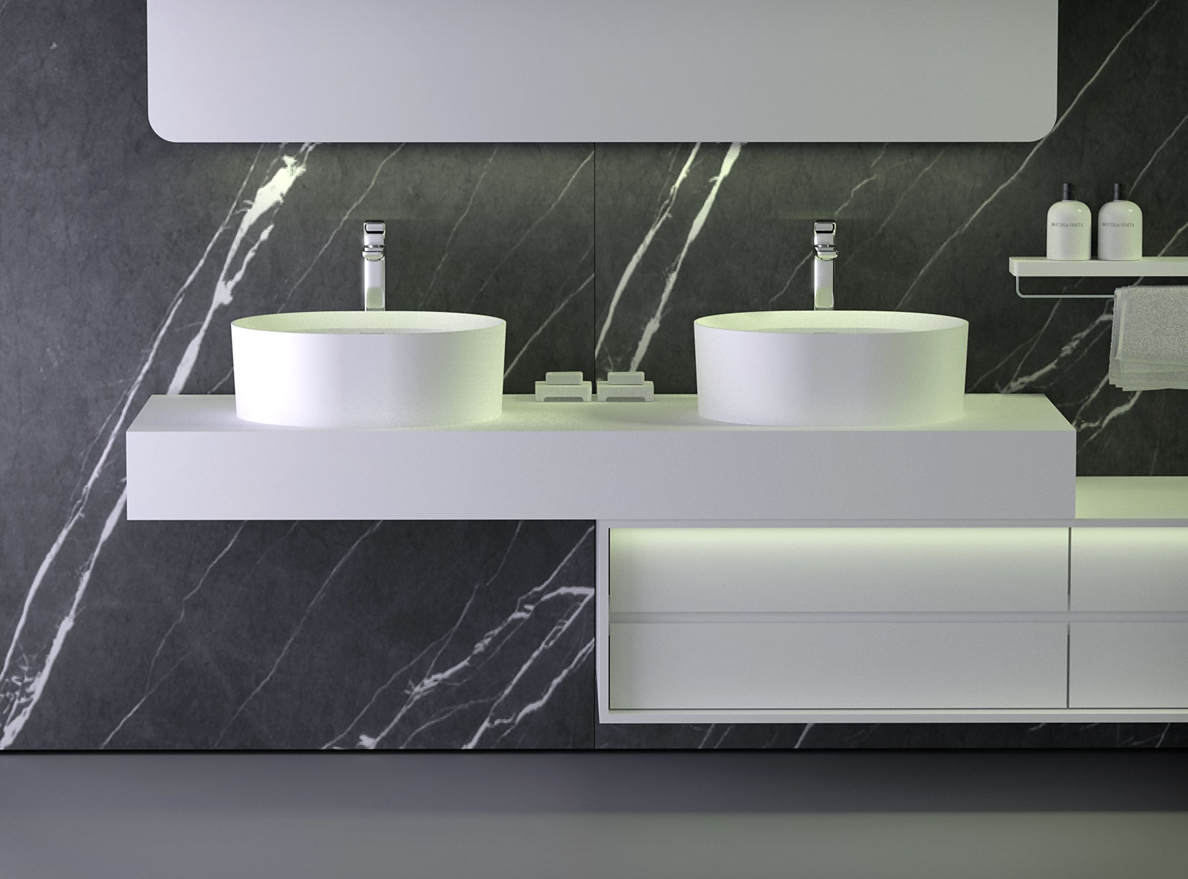 k stone slab counter with solid surface white washbasin and