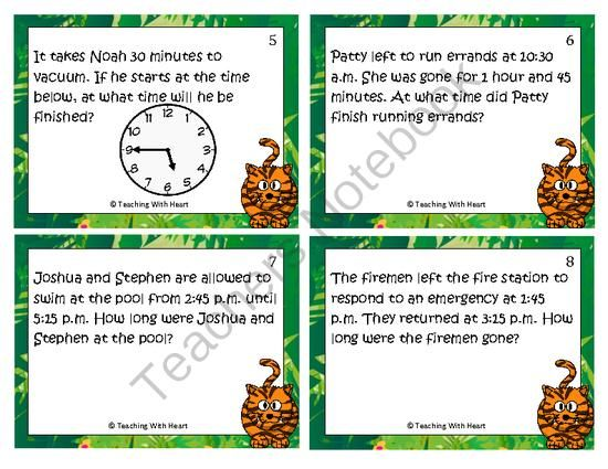 elapsed time word problems scoot activity task cards 1 step from teaching with heart in. Black Bedroom Furniture Sets. Home Design Ideas