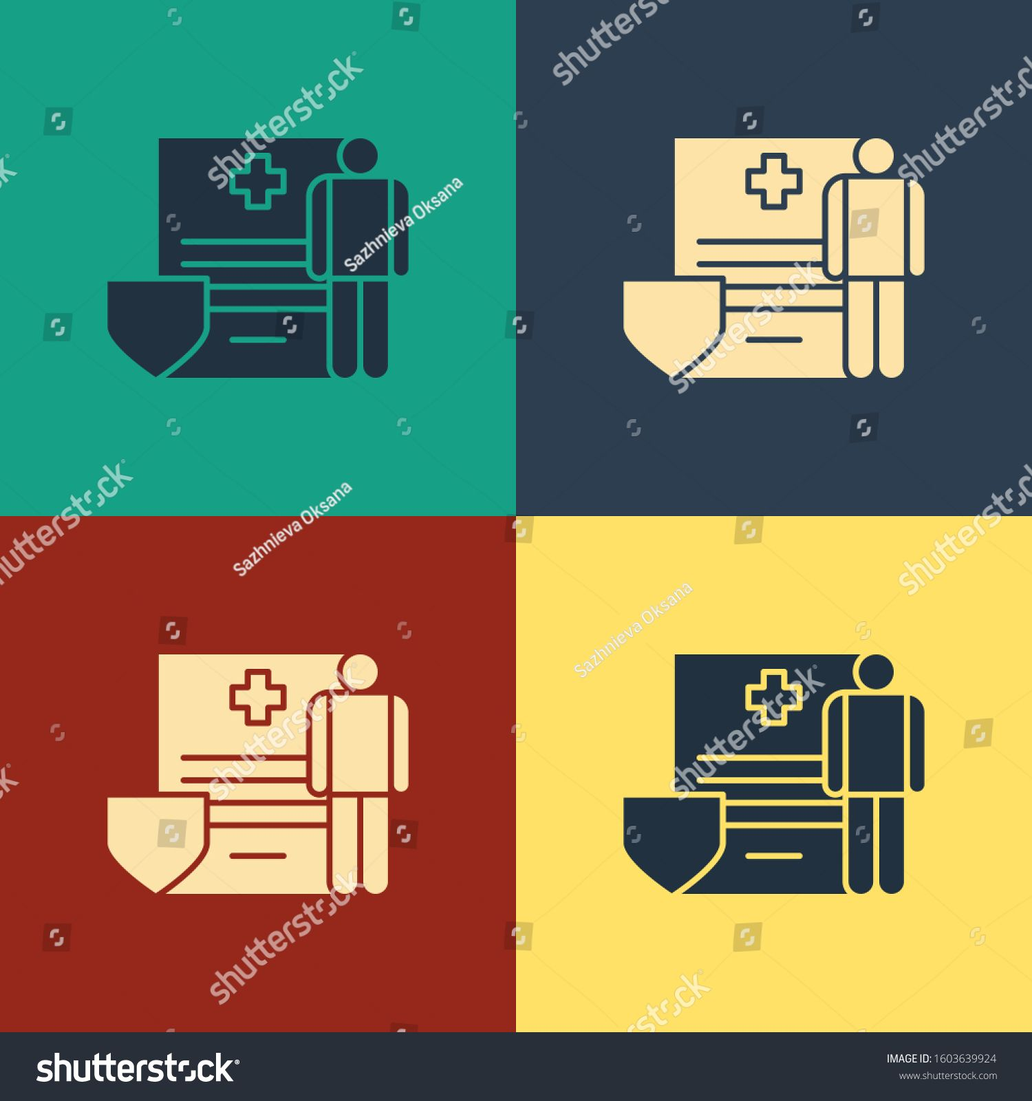 Color Medical clipboard with clinical record icon isolated