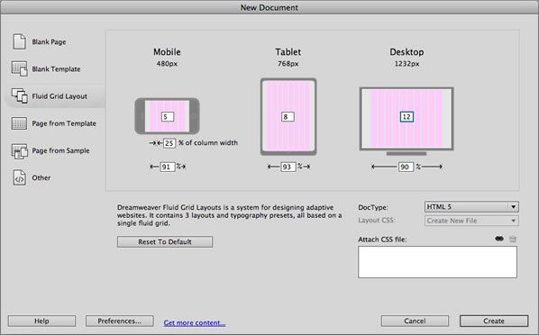 Create A New Fluid Grid Layout In Dreamweaver Cs6 Grid Layouts Web Design Layout