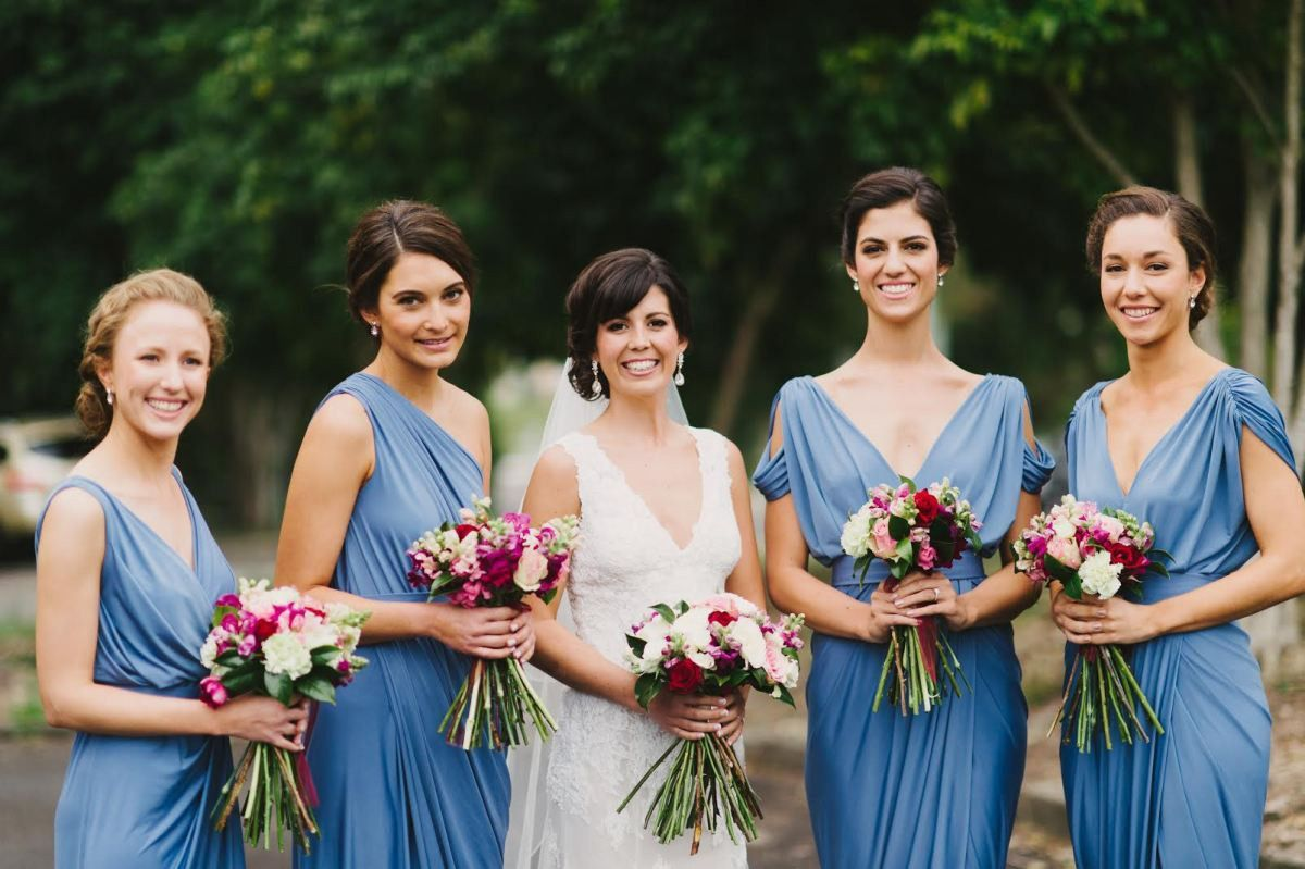 Blue Jersey Mismatched Long Charming Wedding Bridesmaid