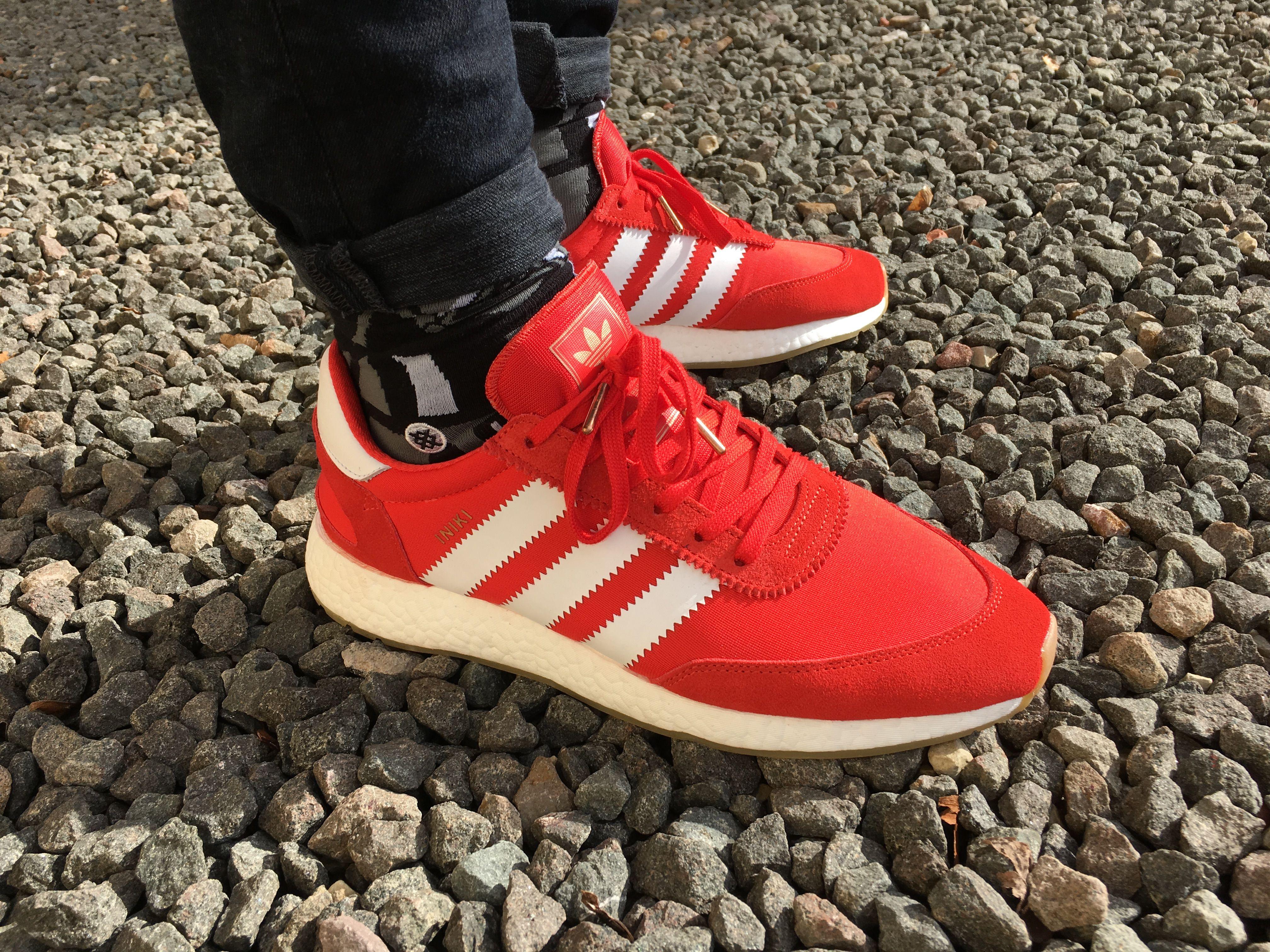 c30de79d21a ADIDAS INIKI RUNNER RED on feet