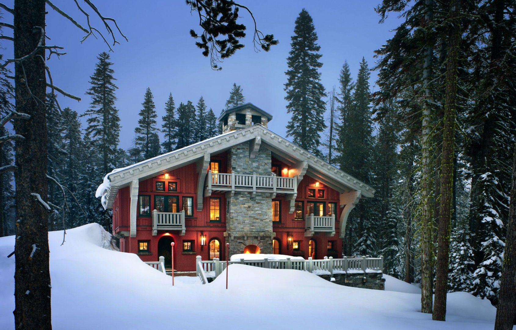 Alpine Ski Chalet House in Snow