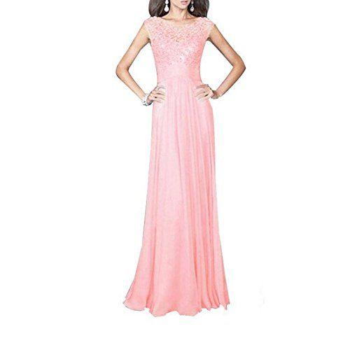 aa224e071617 Liujos Women Floral Lace Sleeveless Party Bridesmaid Chif... https ...
