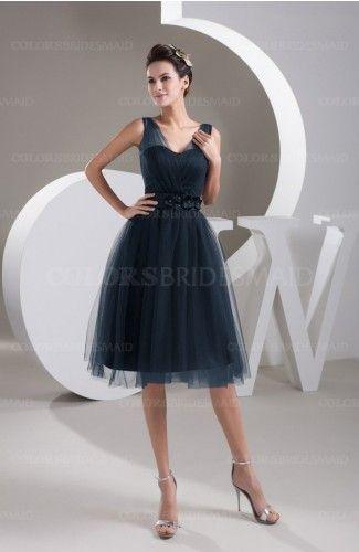 b83763abfef9d Navy Blue Plain Illusion Zipper Knee Length Flower Plus Size Bridesmaid  Dresses