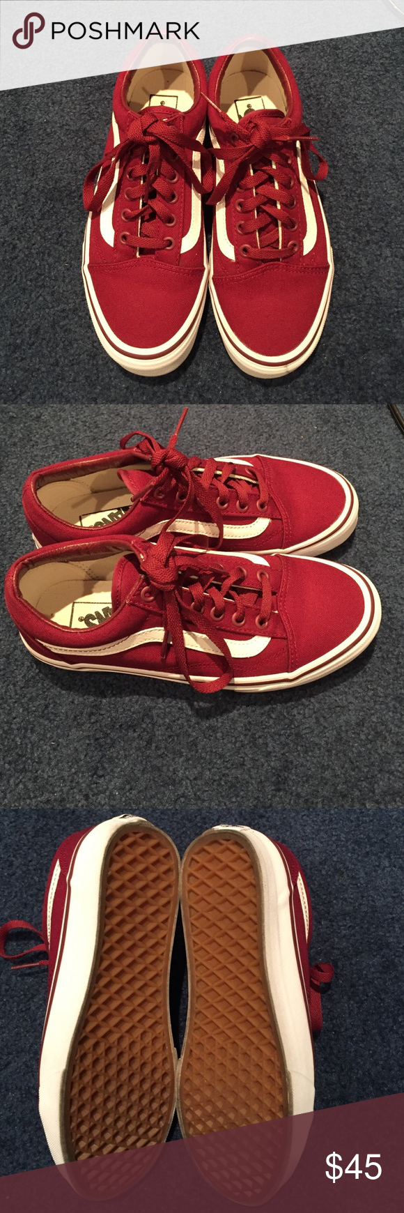 Vans Maroon Sneakers Classic Vans in a maroon color, only worn once for a few hours so in great condition, have the smallest scuff mark in the front of the left shoe as shown in the pic Vans Shoes Sneakers