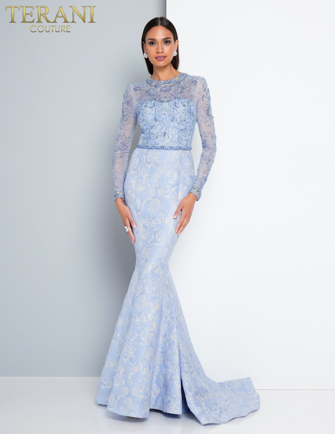 476a7b71709a Terani Couture Long Sleeve Gown - raveitsafe