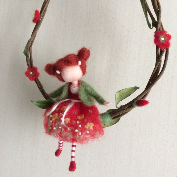 Needle felted fairy, Waldorf inspired, Spring, Wool fairy, Red dress, Swing, Mobile, Doll miniature, Art doll, Home decor, Gift