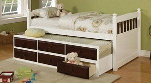 Espresso White Kids Youth Twin Captain Bed with Storage Drawer Trundle