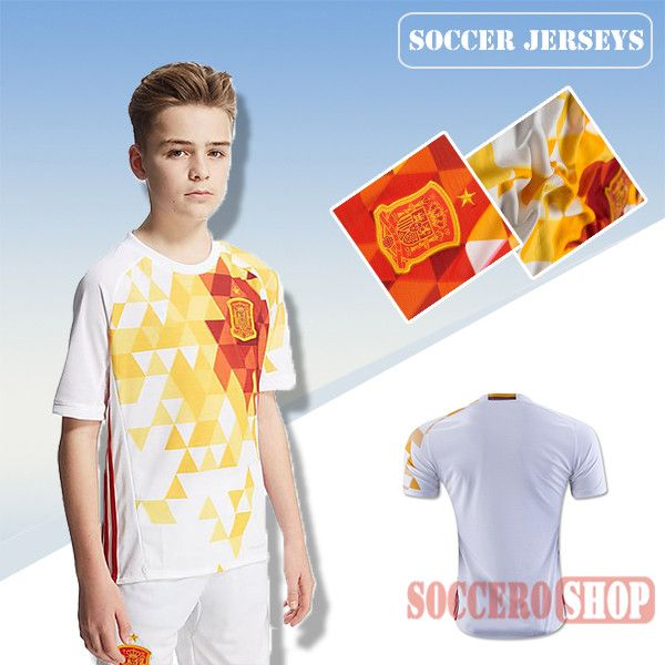 811926b95 Newest Cool Spain White Yellow 2016-2017 Away Kids Soccer Jersey Thailand  Customised