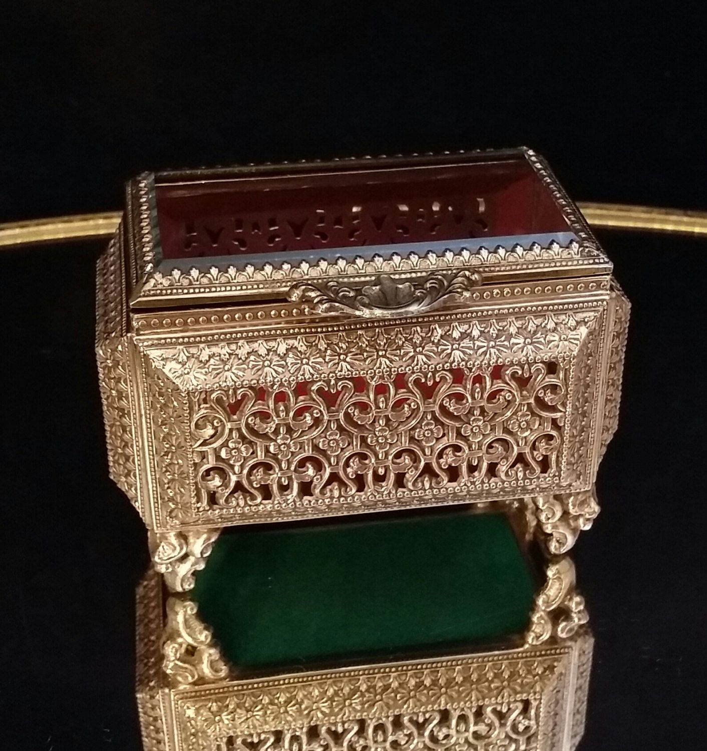 Red Velvet Beveled Glass Jewelry Casket Gold Filigree Jewelry Box