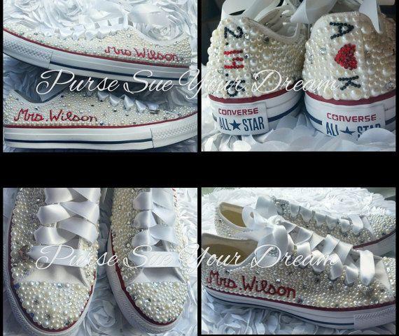 a8cd1fcfd646 Custom Crystal Rhinestone and Pearl Bride Converse Wedding Shoes -  Swarovski Crystals - Custom Wedding Shoes
