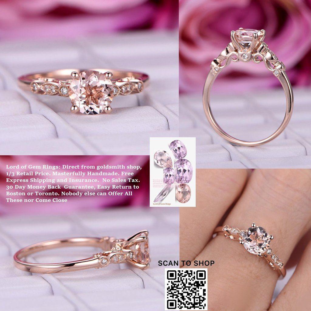 Round Morganite Engagement Ring Diamond Celtic Shank 14K Rose Gold ...