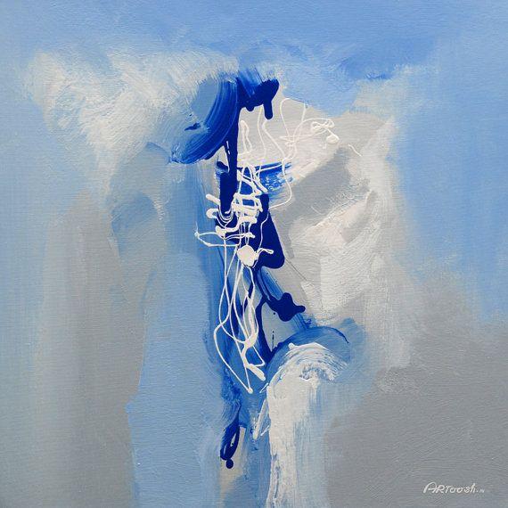 Peinture abstraite bleu gris blanc painting original for Gris turquoise peinture