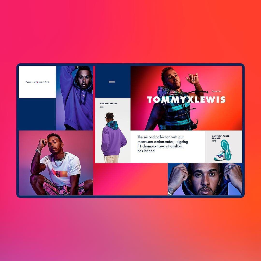 Alternative Layout Concept For Tommy Hilfiger And Lewis Hamilton Collaboration By Soulja Official Web Design Web Design Trends Web Design Inspiration
