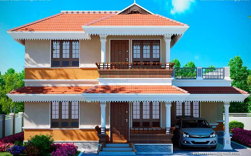 New Traditional Kerala Home 2172 Sq Ft Ground Floor 1441 Sq Ft Car Porch Sit Out Draw House Balcony Design Bungalow House Design Beautiful House Plans