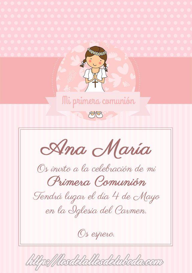 Invitaciones de comuni n para descargar gratis communion - Como hacer tarjetas para comunion ...