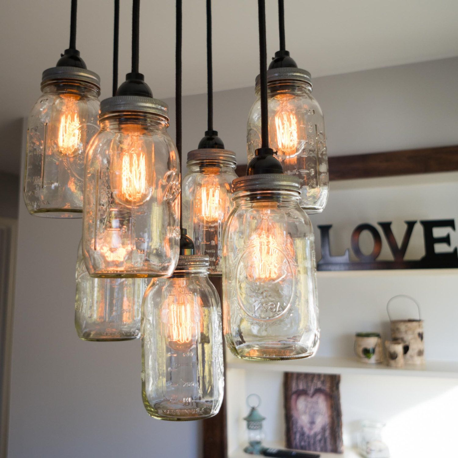 Mason Jar Chandelier Rustic Lighting Farmhouse Decor