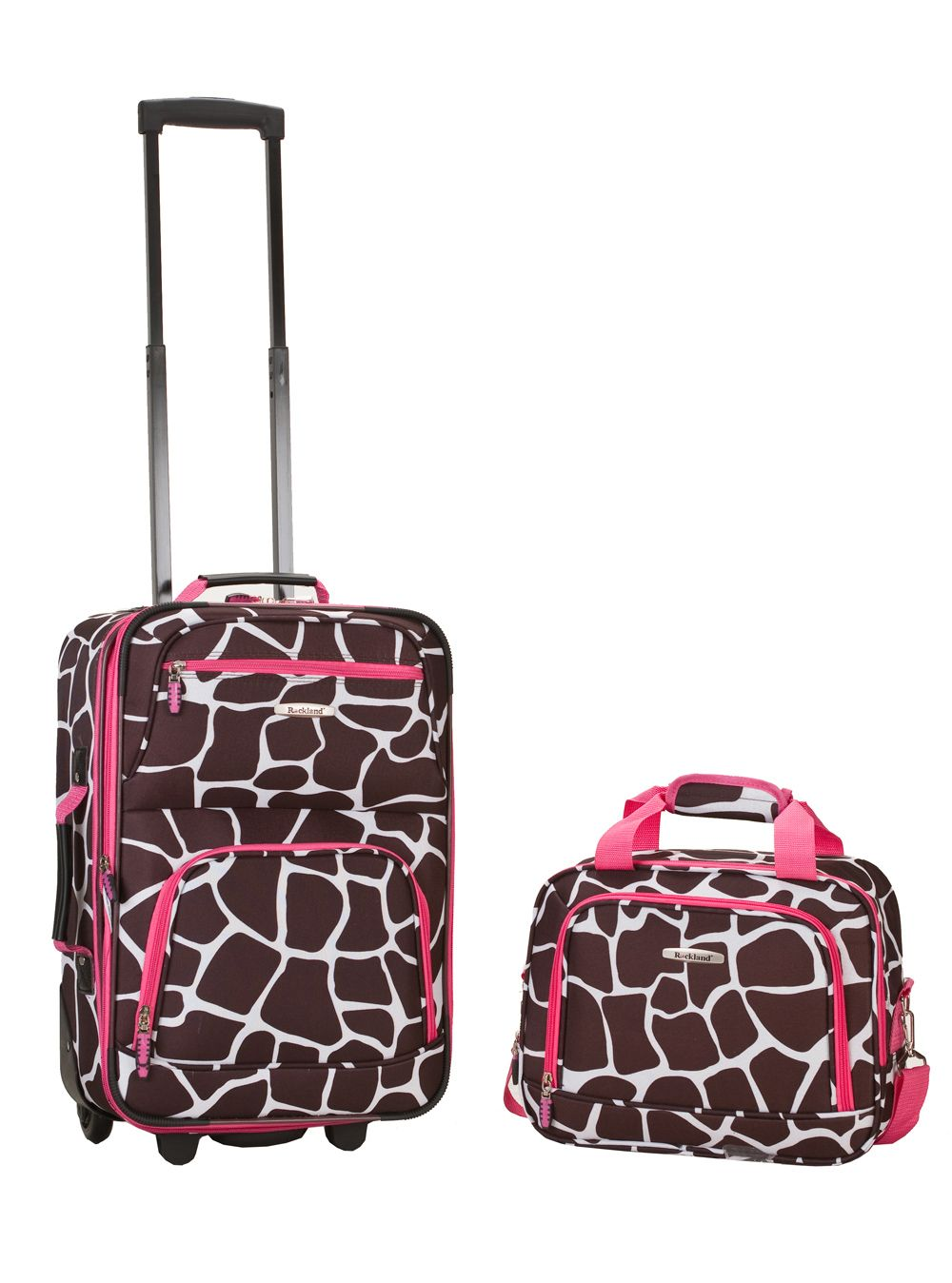 Rockland Fox Luggage 2 Piece Set Pink Giraffe Multi