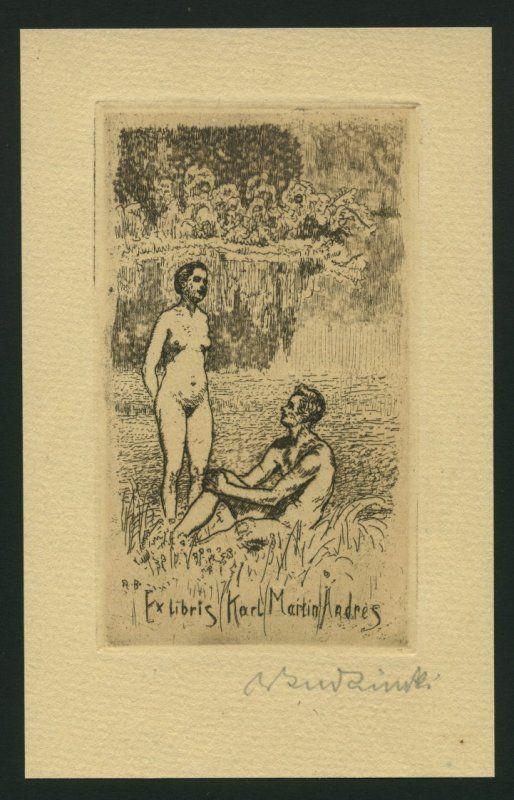Budzinski, Robert (1874-1955): Ex Libris Karl Martin Andres. Aktpaar am See.